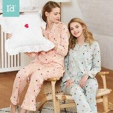 Women Cotton Printed Home service Cute Lovely Dot Pajamas set Autumn Pyjamas for women Nightclothes