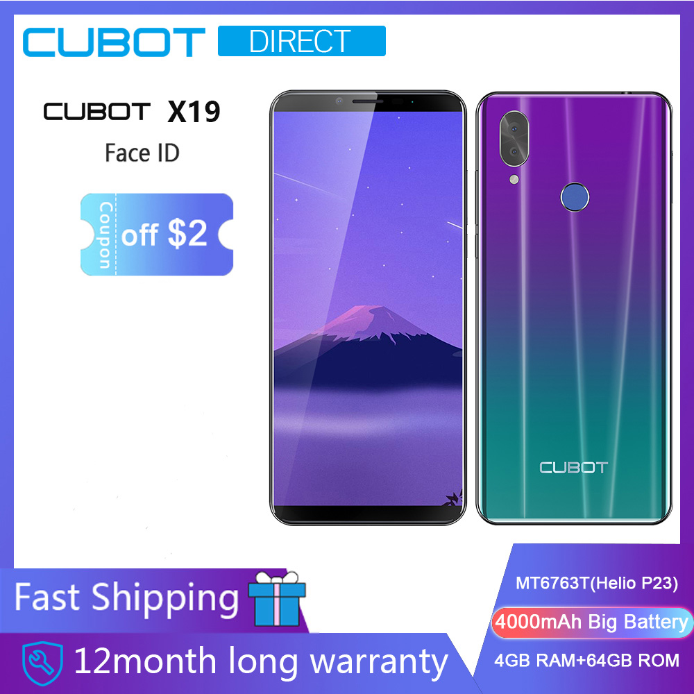 "Cubot X19 Smartphone Helio P23 Octa-Core 5.93"" 2160*1080 FHD+ Display 4000mAh 4GB+64GB Face ID Type-C Twilight Gradient Color"