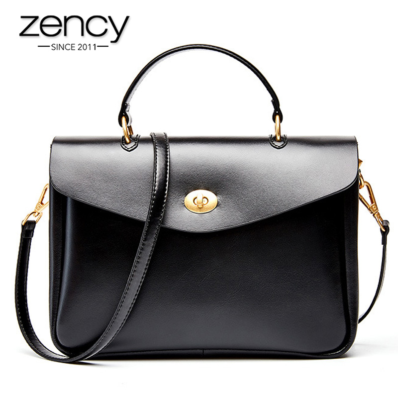 Zency 100% Genuine Leather Office Lady Briefcase Bag Fashion Women Tote Handbag Classic Black Luxury Crossbody Shoulder Bags