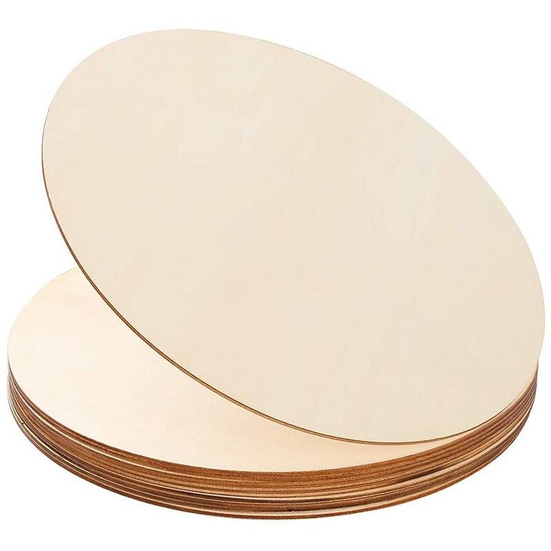 10 peças 12 Polegada discos de madeira, fatias de madeira redondas inacabadas para pirografia, pintura e decorações de casamento|Artesanato de madeira DIY|   -