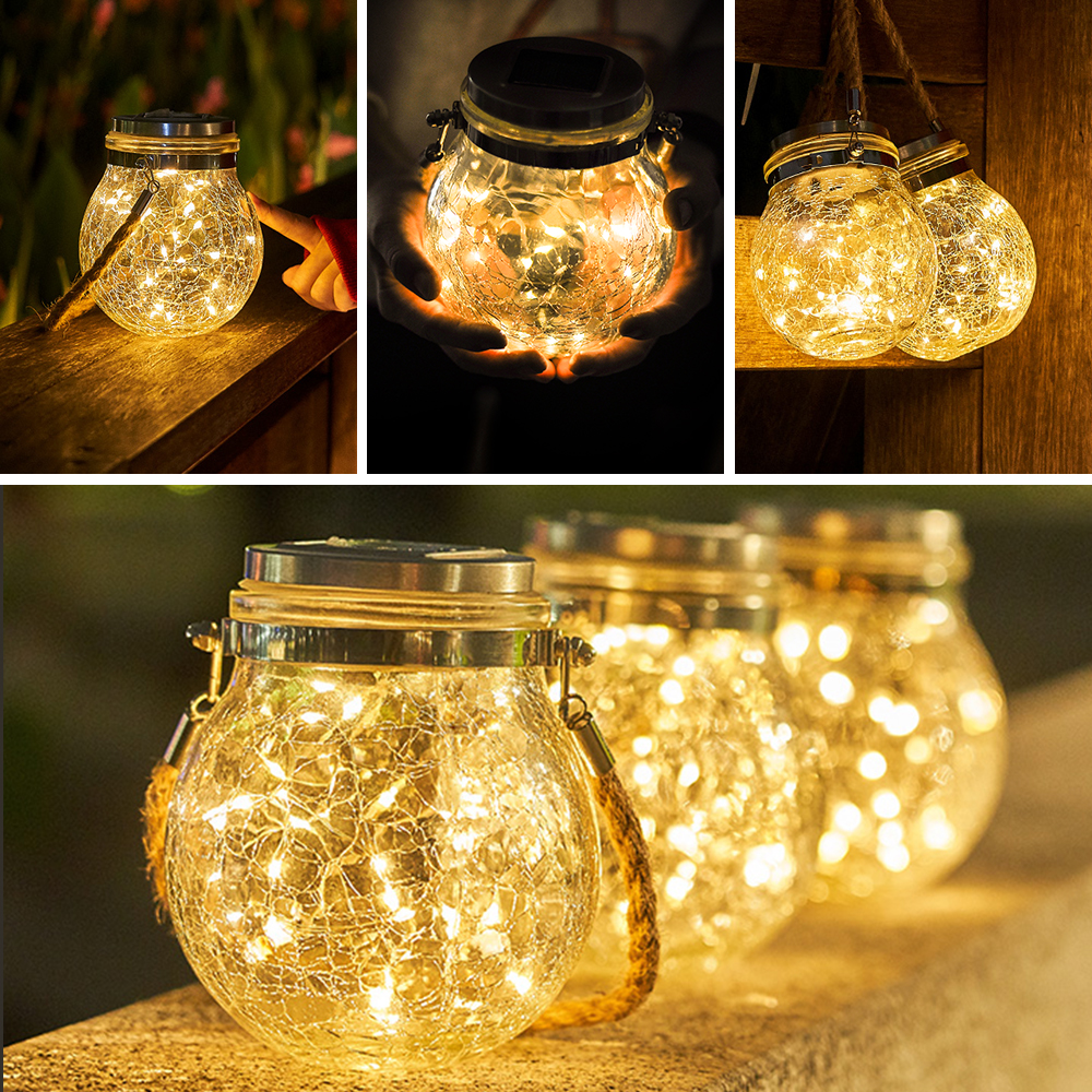 2M 20 LEDS Crack Bottle Lights String Outdoor Solar Lights Garden Christmas Fairy String Lights for Party Wedding Decor Lamp