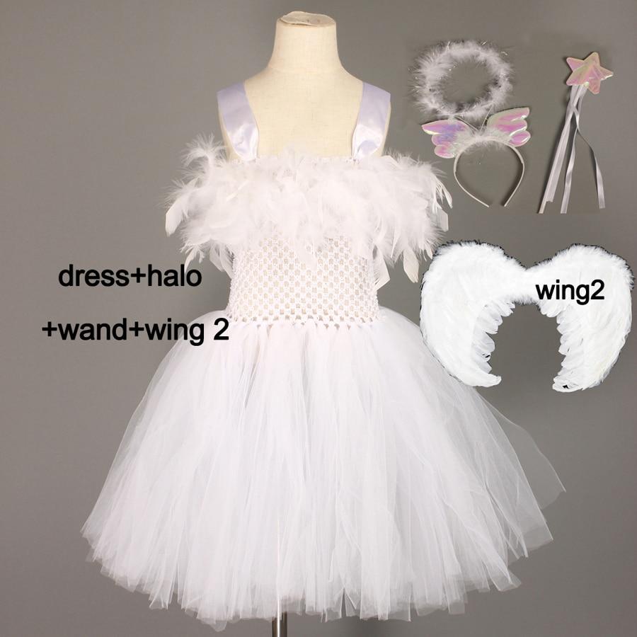 Angel white tutu tulle dress wings halo set girls Christmas dress up nativity