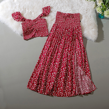 Cthink Viscose Summer Flower Magenta Crop Top And Long Skirt 2 Piece Set Women Split Skirts Two Piece Set Fashion Matching Sets marled knit crop top with split skirt