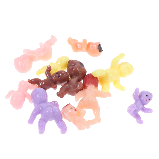 Kids Small Toy Accessories 10 PCS Cute Baby Shower Mini Doll Plastic Child Full Moon Gifts Boys Girls Party Supplies 3