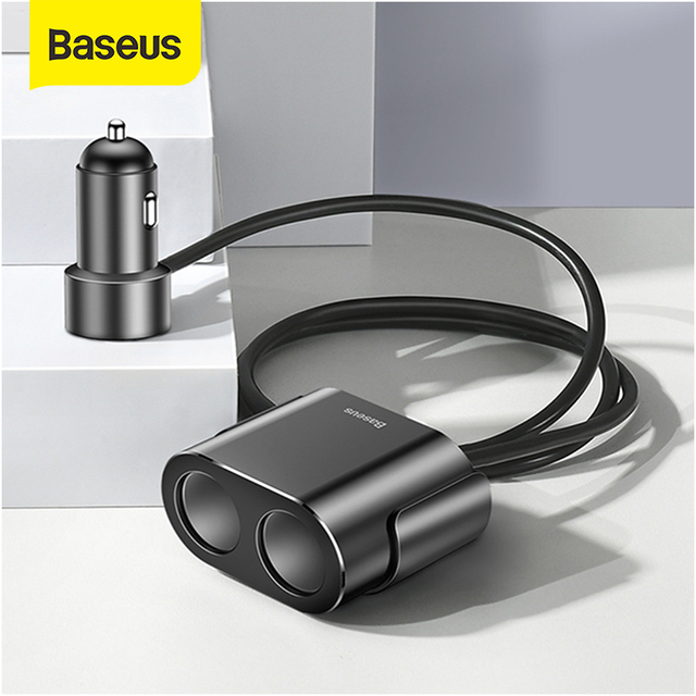 Baseus Cigarette Lighter Splitter 3.1A 100W Dual USB Car Charger Adapter for Phone Car-Charger Auto Cigarette Lighter Charging