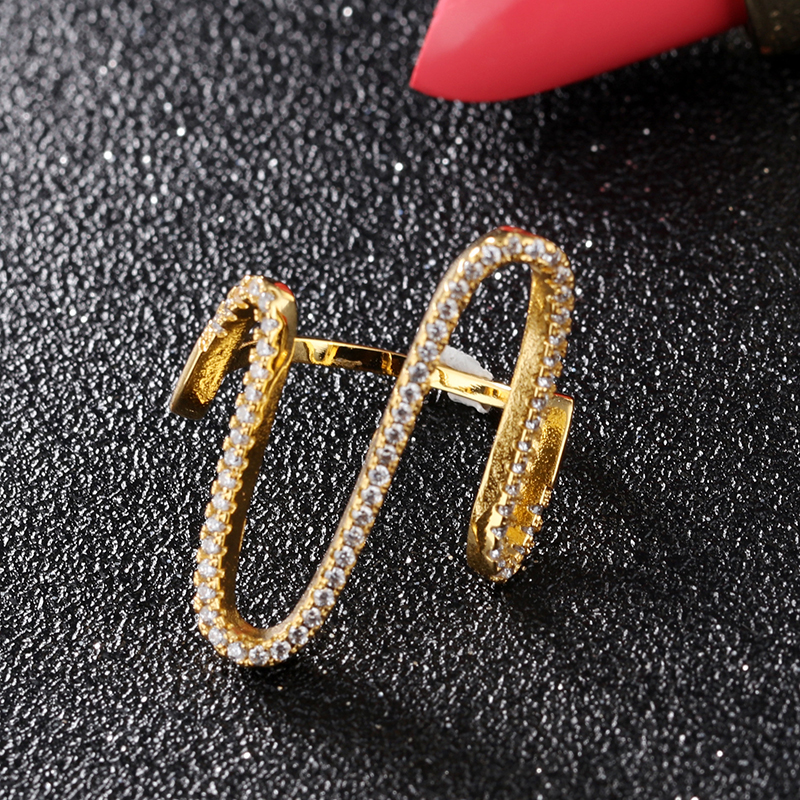 Sweet temperament wild inlaid rhinestone ring female fashion hipster index finger ring small jewelry ring jewelry gift VR704 in Rings from Jewelry Accessories