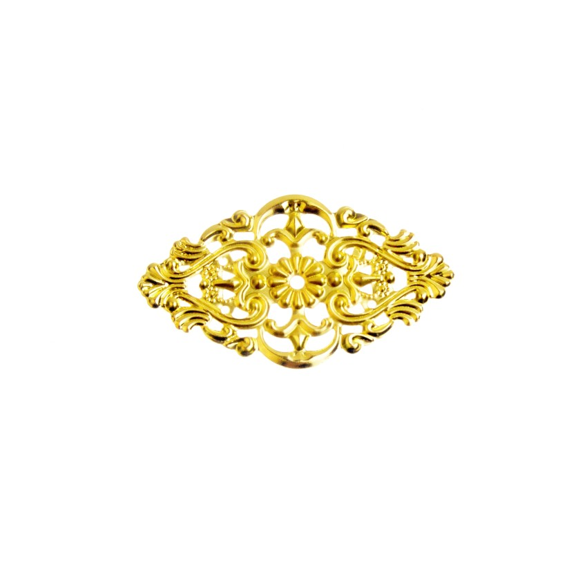 Free Shipping Retail 10Pcs Gold Tone Filigree Flower Wraps Connectors Metal Crafts Decoration DIY Findings Connectors 5.4x3.2cm