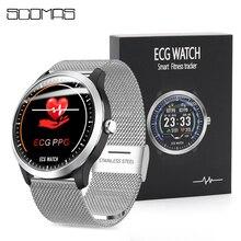 """SCOMAS N58 ekg PPG akıllı saat erkekler 1.22 """"IPS yuvarlak ekran kalp hızı kan basıncı monitörü aramalar SMS akıllı hatırlatma smartwatch"""