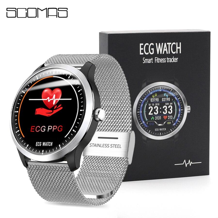 Monitor de Pressão Scomas Relógio Inteligente Homem 1.22 Ips Round Display Freqüência Cardíaca Arterial Chamadas Sms Lembrete Smartver N58 Ecg Ppg