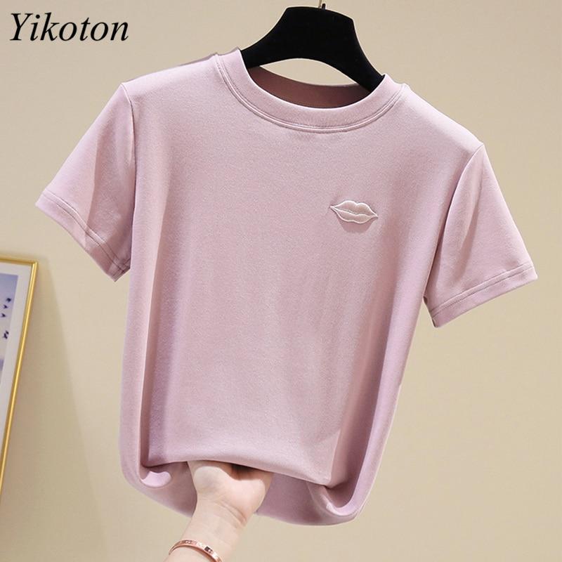 Cotton Summer Women's Clothing Top Women T-shirts Short Sleeve Lips Embroidery Woman T-shirts Basic Tops Female 2021 Tee Shirts 4