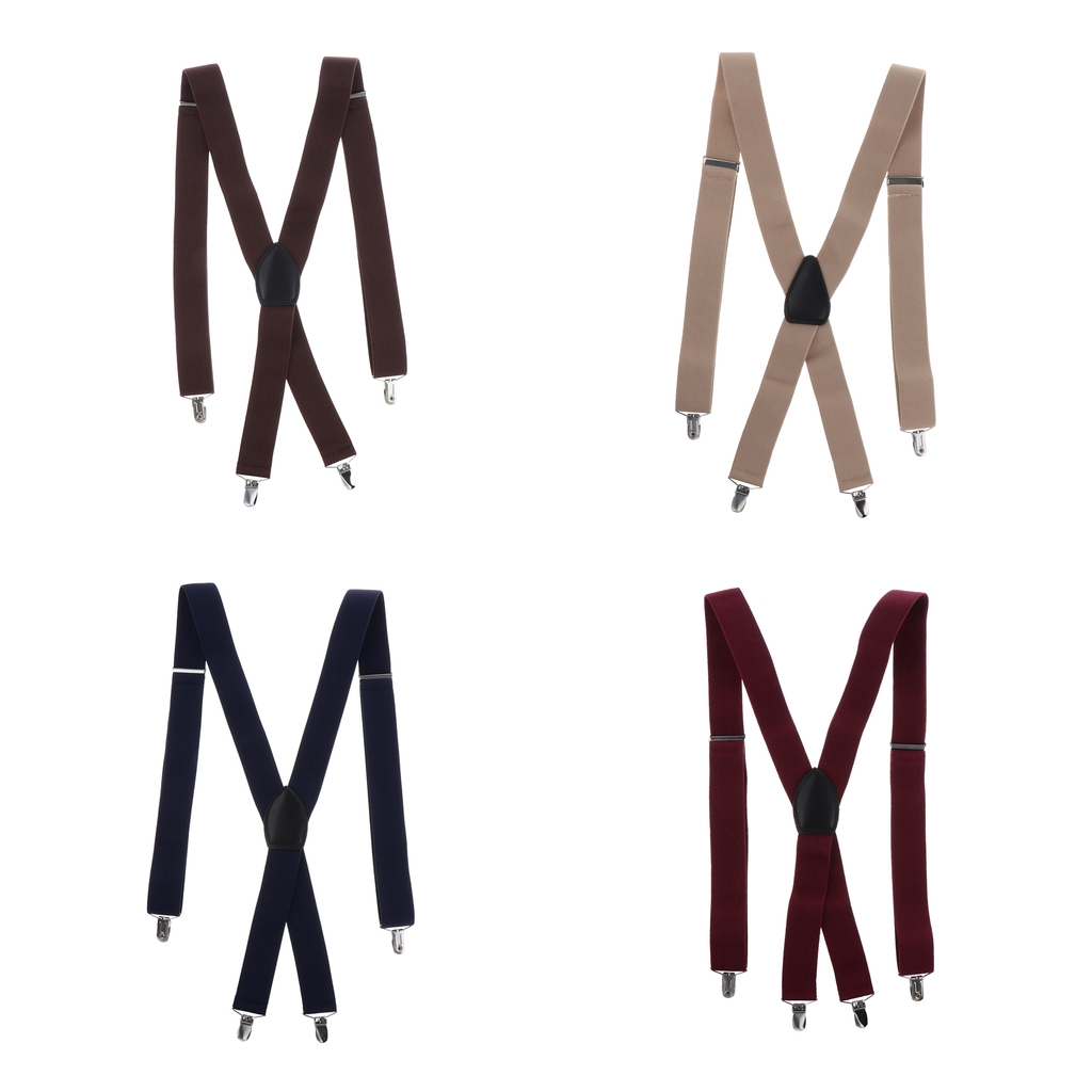 Fashion Adjustable And Elastic Solid Color Men's Suspenders With Metal Clips