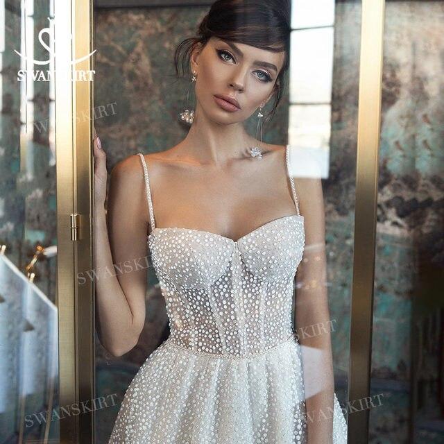 Shiny Sleeveless Wedding Dress 2021 New Beach Beaded A-Line Train Bridal Gown Princess SwanSarah L103 Plus Size Vestido De Novia 1