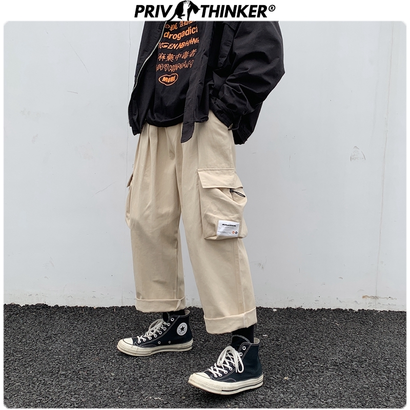 Privathinker Overszied Men Casual Pants Hip Hop Streetwear Male Loose Harem Pants Side Big Pocket Man Joggers Pants