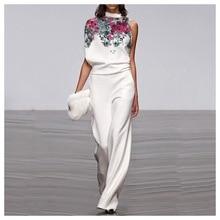Stand Collar loose Leg Print Jumpsuit Autumn Elegant Wide Leg Mid Waist