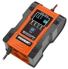 Foxsur 12v 24v 6a carregador de bateria inteligente automático, carregador de bateria de carro de 7 fases para o lítio lifepo4 lipo molhado do agm 12.6v do gel