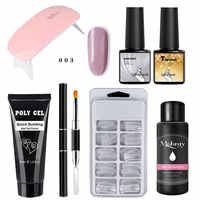 Poly Gel Set For Manicure 100pcs Nail Tips Dual Forms Base Coat Top Coat Quick Building Extension Nail Gel Camouflage Brush