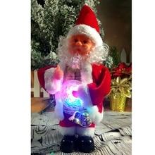 Прекрасный Рождественский Электрический Санта-Клаус, танцевальная Музыкальная кукла Санта-Клауса с светодиодный животом, рождественские украшения, домашний подарок для детей