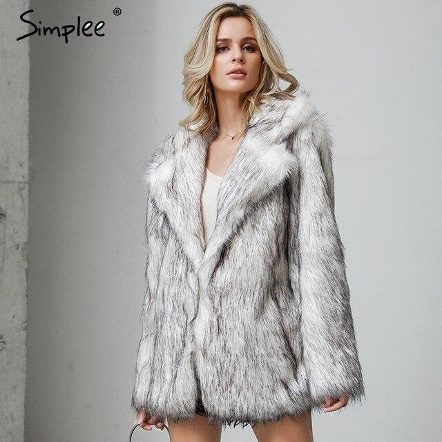 Simplee Winter fax fur women coats Luxurious white long fur loose outerwear Plus size thick warm shaggy female streetwear coat 2