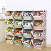 Japanese Kitchen Fruit And Vegetable Storage Basket Can Be Stacked Multi-Function Storage Basket Plastic Pp Bathroom Corner Stor