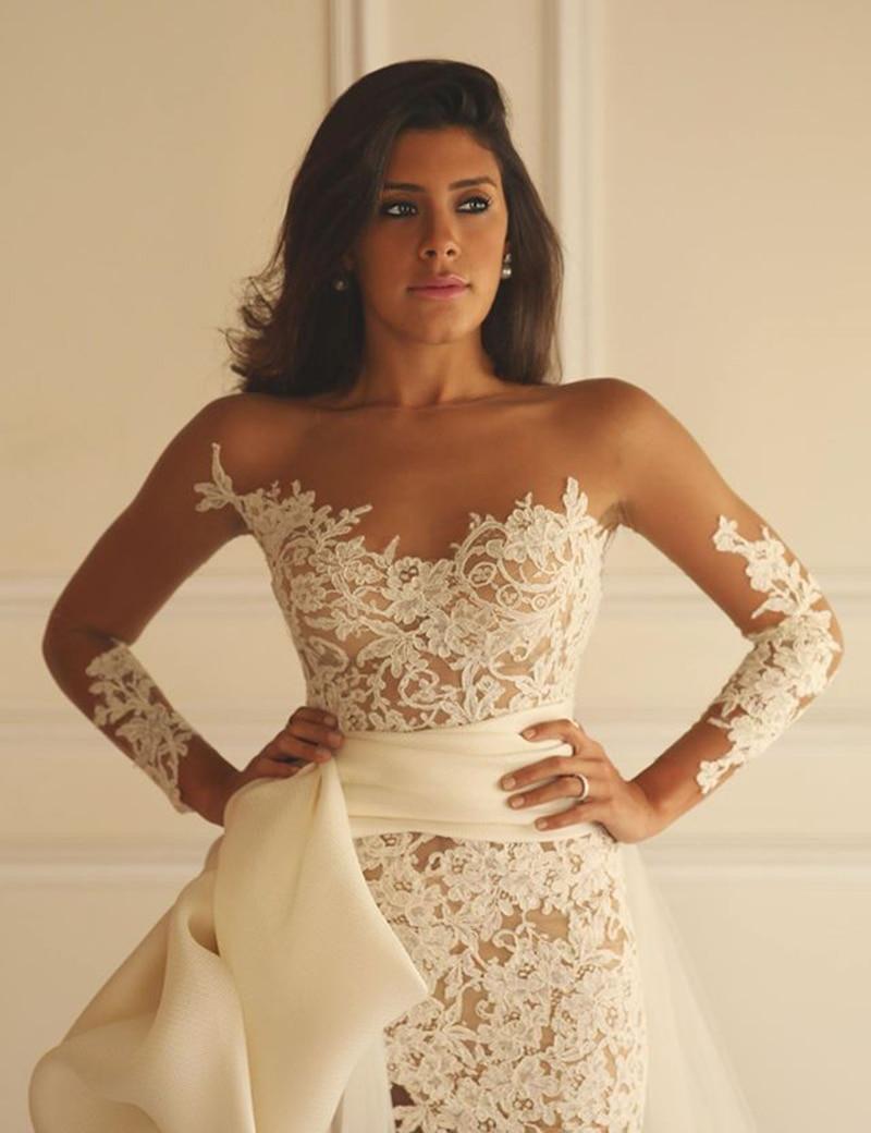 Short Sheath vestido de noiva 2018 Long Sleeves Lace appliques Detachable Train Back Zipper bridal gown bridesmaid dresses