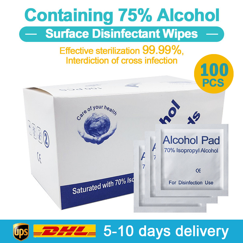 100 Pcs Alcohol Wet Wipe Disposable 75% Soft Alcohol Prep Pads Easy To Carry Individually Wrapped Swabs Antiseptic Skin Cleaning