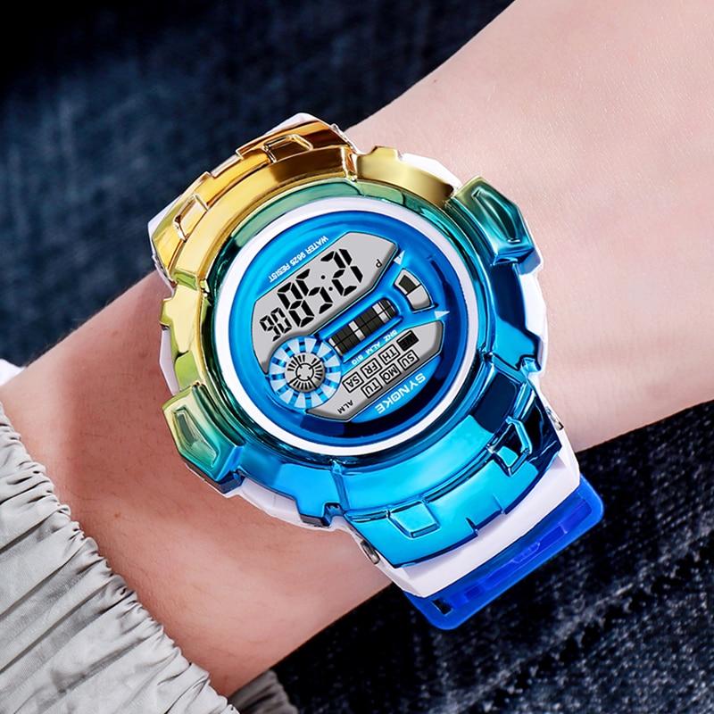 Pode à Prova Relógio para Crianças de Luxo Dwaterproof Água Synoke Colorido Relógios Eletrônicos Crianças Esportes Relógio Estudante Hora Menino Menina A3301