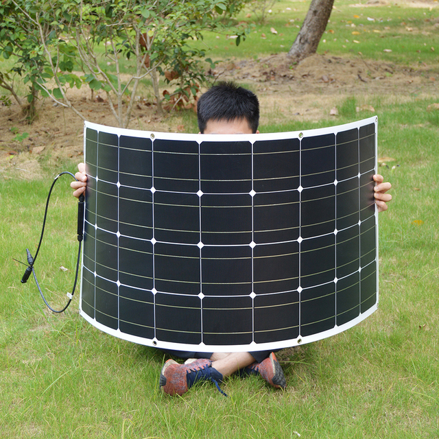 100W Monocrystalline Flexible Solar Panel 12V Battery Charge