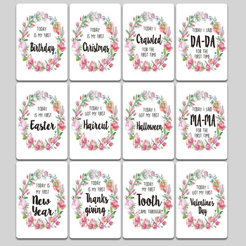 Baby Milestone Photo Cards Age Markers & Unique Firsts Baby Shower Gift Set D7YD