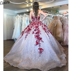 Image 2 - Bling Bling Sequin Ball Gown Quinceanera Dresses Sweetheart Red Lace Appliques Beaded Sweet 15 Dress Corset Back Pageant Gown