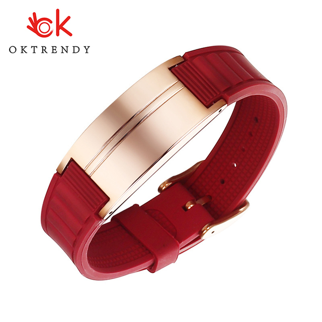OKTRENDY Magnetic Bracelet For Men Black Silicone Custom Heavy Bangle Gents Wristband Valentines Day Gift for Him