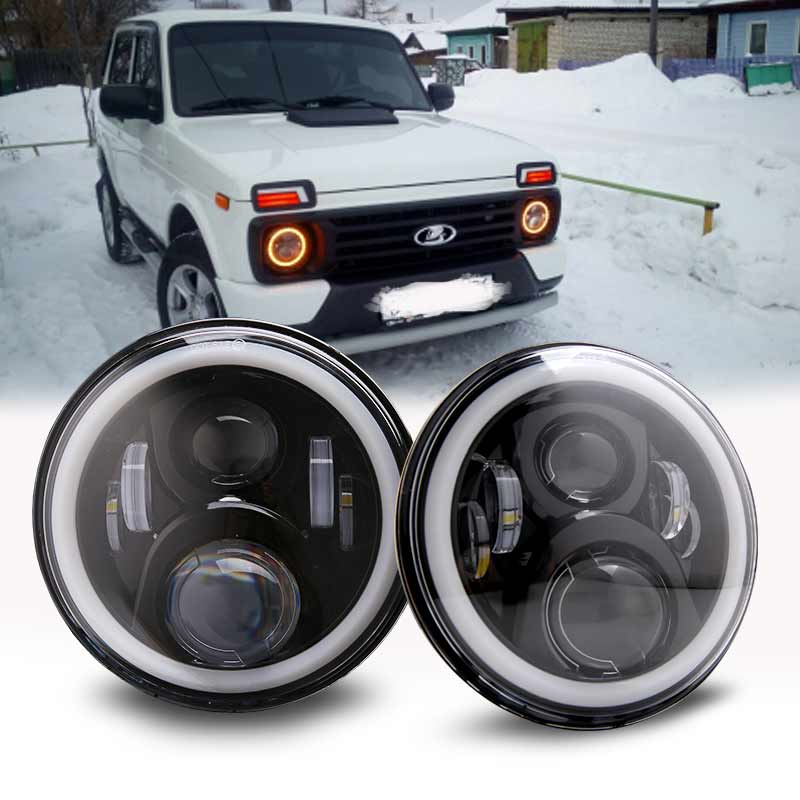 7Inch LED Headlamps with Halo Ring Amber Turn Signal For <font><b>lada</b></font> niva 4x4 suzuki samurai 7