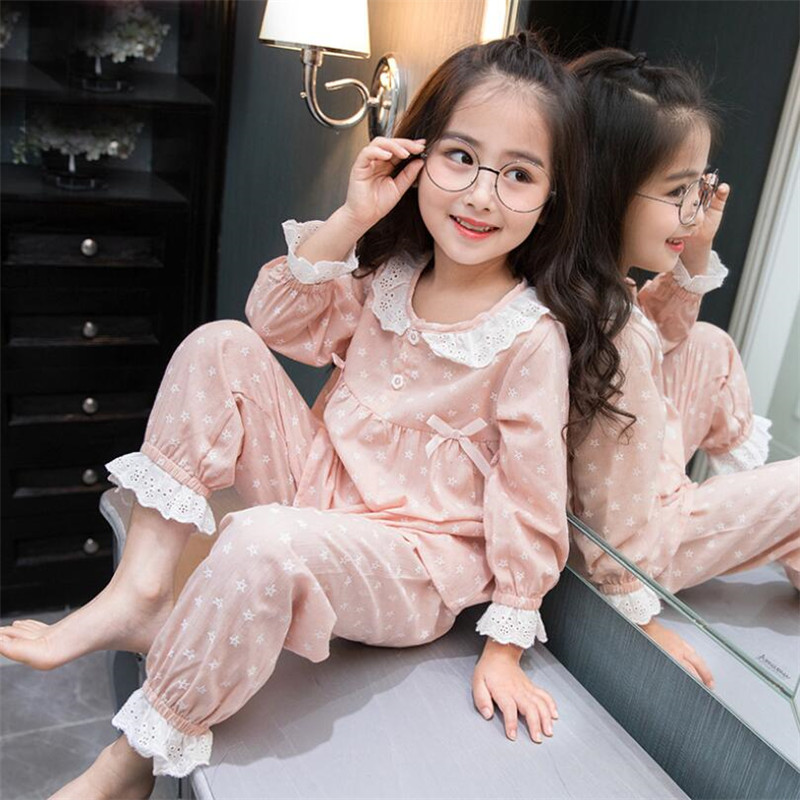 Girls Pajamas Sets 2 PCS Long Sleeve Floral Printed Autumn Winter Kids Sleepwear Clothes For Children 3 4 <font><b>5</b></font> 6 7 8 10 12 Years image