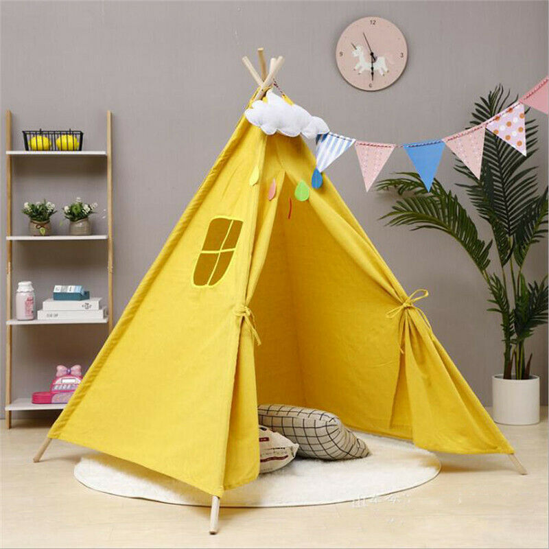 6ft Portable Children Playhouse Sleeping Dome Indian Teepee Tent Play House Gift Kids Girl Boy Canvas Tents
