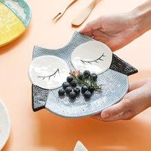 Детская керамическая тарелка в форме мультяшных животных столовая