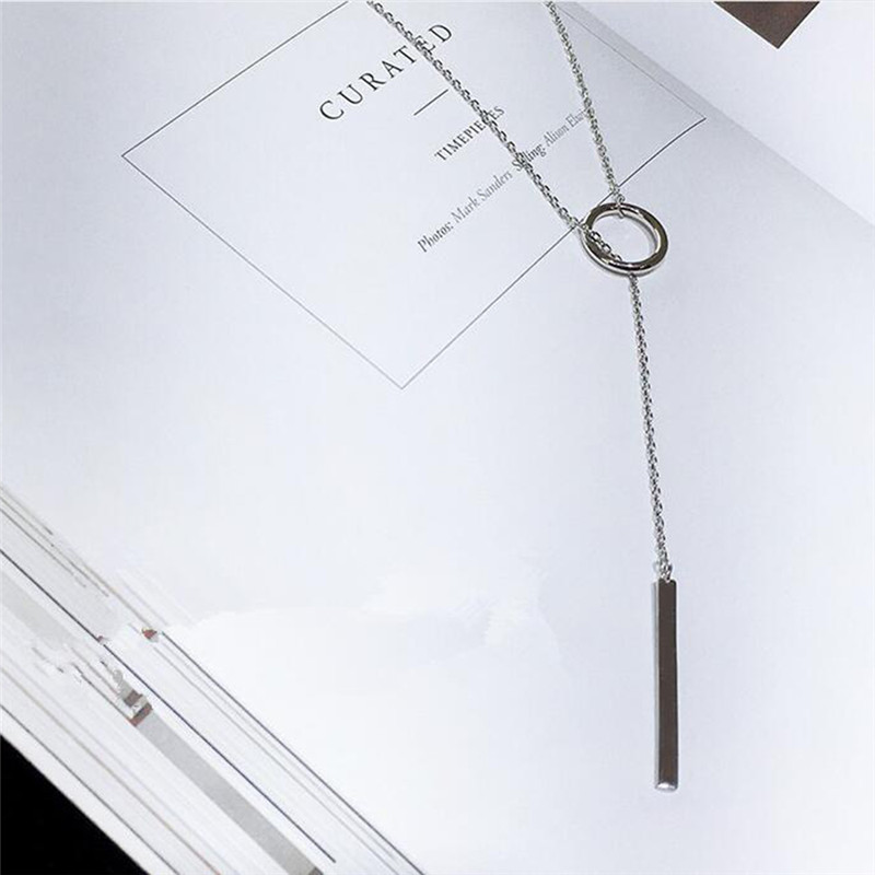 2018 Hot Fashion Women Accessories 925 Sterling Silver Bar Circle Lariat Necklace Women Long Strip Pendant Necklaces Jewelry