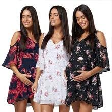 2019 妊産婦ドレス妊娠中の女性半袖オフショルダードレス妊娠服女性大サイズカジュアル V ネック Dresse