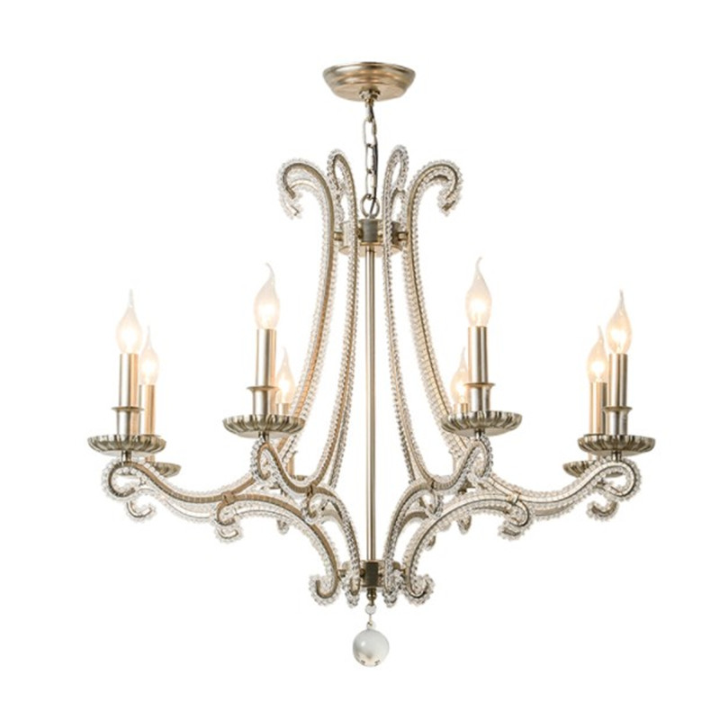 French Cast Metal chandelier for living room indoor lighting Country wrought iron lamp bedroom retro silver crystal chandeliers