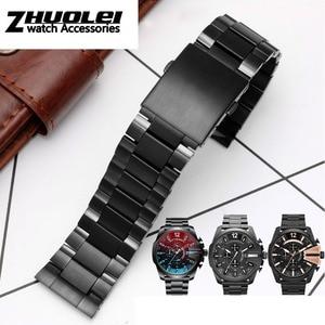 Image 4 - Hoge kwaliteit band Voor DZ4318 4323 4283 4309 originele stijl roestvrij stalen horlogeband mannelijke grote horloge case armband 26mm zwart