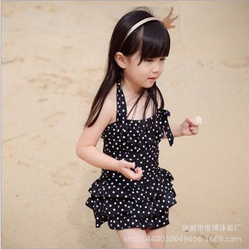 2019 New Style KID'S Swimwear Small Children Big Kid Cute Polka Dot Dress-GIRL'S Swimsuit Gift Hat