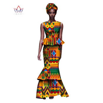 2020 New African Dresses For Women Dashiki Ladies Clothes Ankara O-Neck Africa Clothes Two Pieces Set Natural 6xl None WY1054 - 9, M