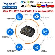 מקורי Vgate iCar פרו elm327 V2.2 obd2 אבחון כלי Bluetooth 4.0 OBD 2 Scaner האוטומטי ELM 327 עבור IOS/אנדרואיד רכב קוד קורא