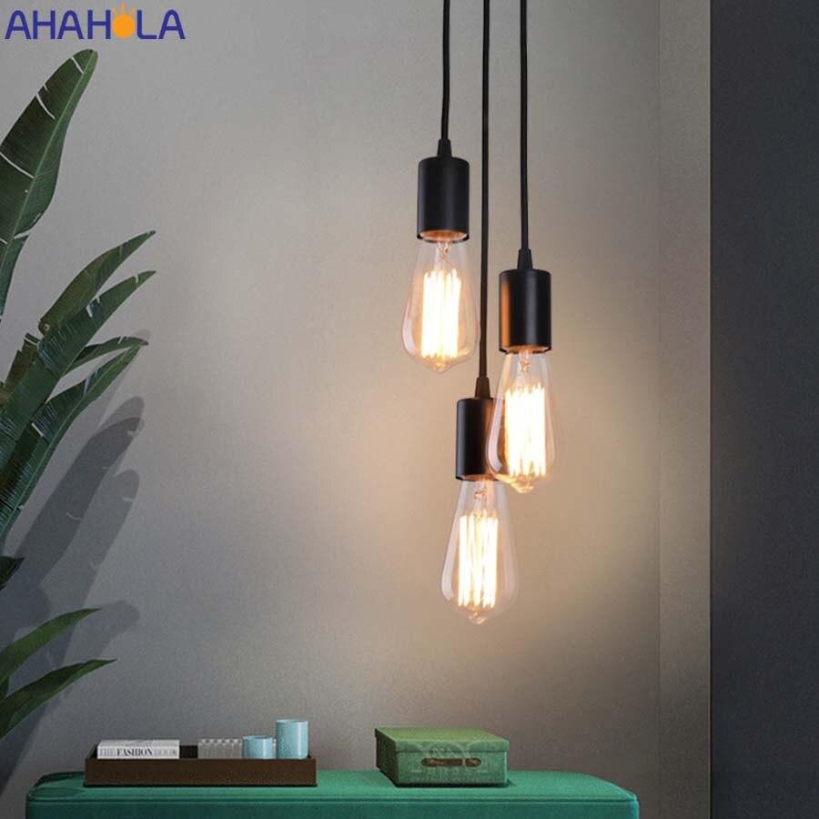 Argent blanc noir moderne pendentif Led lampe chambre salon intérieur éclairage 110v 220v nordique cordon Led suspension lampe lampe