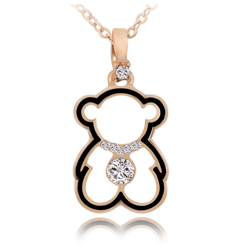 Trendy Cute Bear Necklaces for Woman Gold Cubic Zirconia Long Chain Pendants Necklace Fashion Charm Female Necklace Bear Jewelry