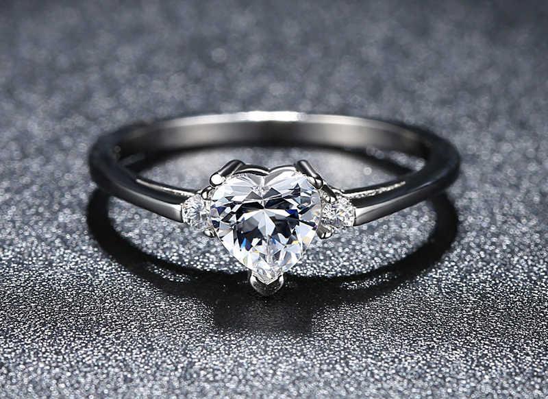 Yanhui シンプルなハートソリティアリング 925 スターリングシルバーウェディングギフト愛永遠の婚約指輪ファインジュエリー JZ006