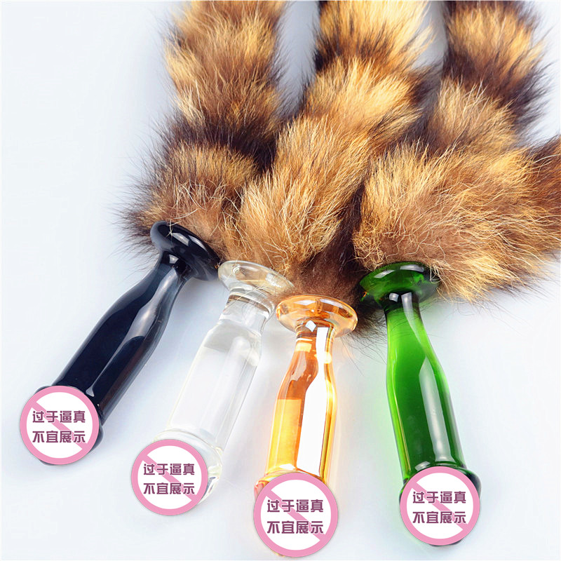 Pyrex glass anal butt plug with animal fox tail adult game sexy costume masturbation bead <font><b>dildo</b></font> <font><b>sex</b></font> toy <font><b>for</b></font> <font><b>couple</b></font> women men gay image