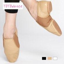 Zapatos de Baile de Jazz profesional para niños pequeños, zapatillas sin cordones de cuero genuino para niñas, zapatos de tostado negro para bebés