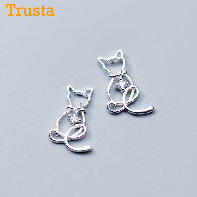 Trusta 2018 100% 925 Sterling Silver Jewelry Fashion Cute 16mmX10mm Hollow CZ Cat Stud Earrings Gift For Girls Teen Lady DS516
