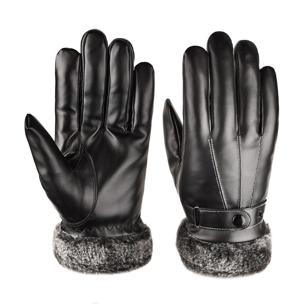Men Winter Faux Leather Motorcycle Full Finger Touch Screen Warm Soft Gloves
