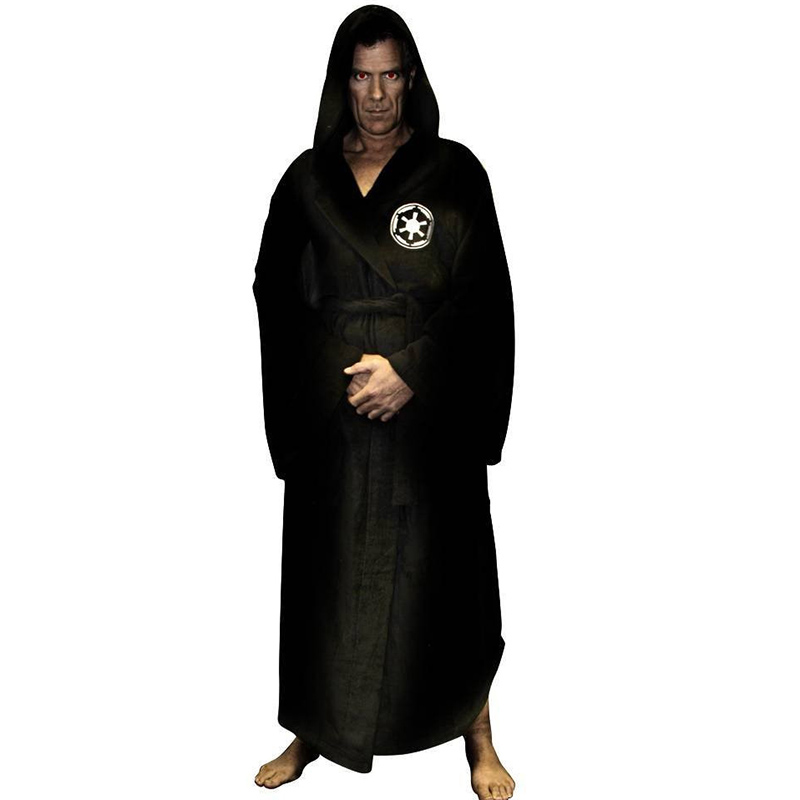 Flannel Robe Male With Hooded Thick Star Wars Dressing Gown Jedi Empire Men's Bathrobe Winter Long Robe Mens Bath Robe