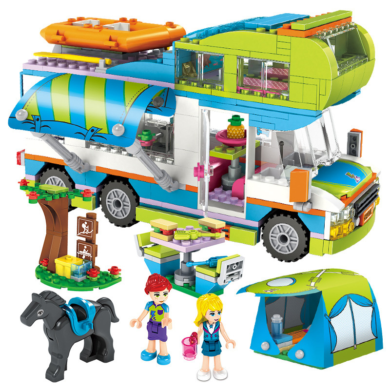 Compatible With Lepinblock Friends City Series Heart Lake City Girls Club Street Building Blocks Pink Cake Cafe Blue Camper Toys